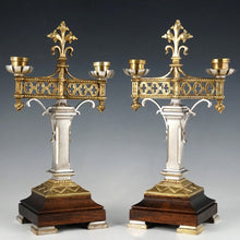 Load image into Gallery viewer, Pair of Antique Gothic Bronze Candelabras