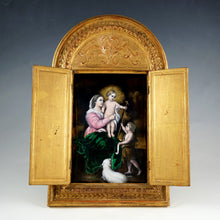 Load image into Gallery viewer, Antique French Limoges Enamel Plaque Gilt Wood Altar Triptych Religious Scene, Virgin Mary & Jesus Christ