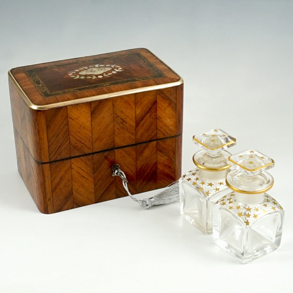 Antique French Perfume Box, Parquetry Kingwood Inlay, Baccarat Crystal Scent Bottles
