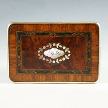 Load image into Gallery viewer, Antique French Perfume Box, Parquetry Kingwood Inlay, Baccarat Crystal Scent Bottles