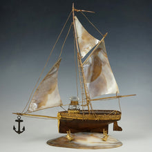 Load image into Gallery viewer, Antique French Mother of Pearl Figural Inkstand, Sail Boat, Ship, Glass Inkwell