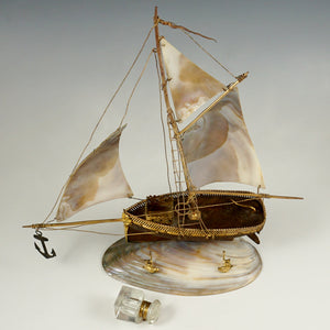 Antique French Mother of Pearl Figural Inkstand, Sail Boat, Ship, Glass Inkwell