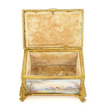 Load image into Gallery viewer, Antique French Gilt Bronze & Porcelain Jewelry Box, Sevres Style