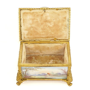 Antique French Gilt Bronze & Porcelain Jewelry Box, Sevres Style