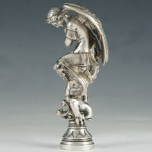 Load image into Gallery viewer, Rare Antique French Silvered Bronze Wax Seal Archangel Michael Battling the Devil