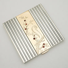 Art Deco French 18K Gold & Silver Compact