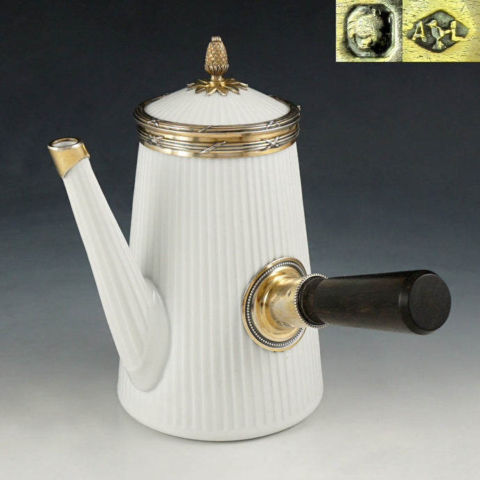 Antique French Sterling Silver Porcelain Teapot