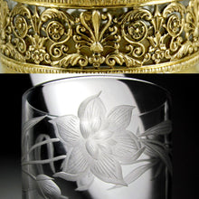 Art Nouveau French Sterling Silver Glass Tumbler & Spoon Set