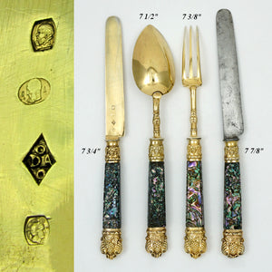 Antique French Sterling Silver Gold Vermeil Travel Gift Set