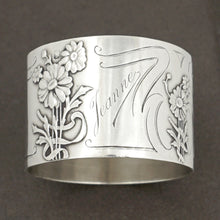 Load image into Gallery viewer, French sterling silver napkin ring Art Nouveau flowers