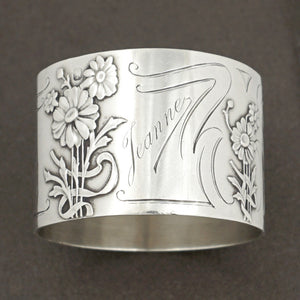 French sterling silver napkin ring Art Nouveau flowers