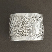 Antique French Sterling Silver Napkin Ring, Pierced Lattice Motif