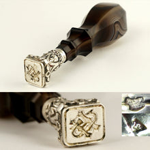 Load image into Gallery viewer, Antique French .800 Silver Wax Seal, Banded Agate Handle, Quartz Geode