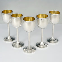 French Sterling Silver Liquor Cordial Goblets Cups Set of 12, Gold Vermeil