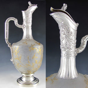 Art Nouveau French Sterling Silver Cameo Glass Claret Jug Decanter