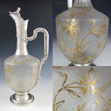 Load image into Gallery viewer, Art Nouveau French Sterling Silver Cameo Glass Claret Jug Decanter