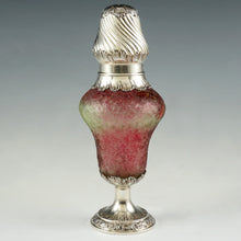 French Art Nouveau Sterling Silver Cranberry Overlay Cameo Glass Sugar Shaker, Caster