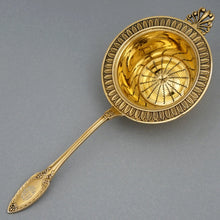 Antique French Sterling Silver Gilt Vermeil Tea Strainer