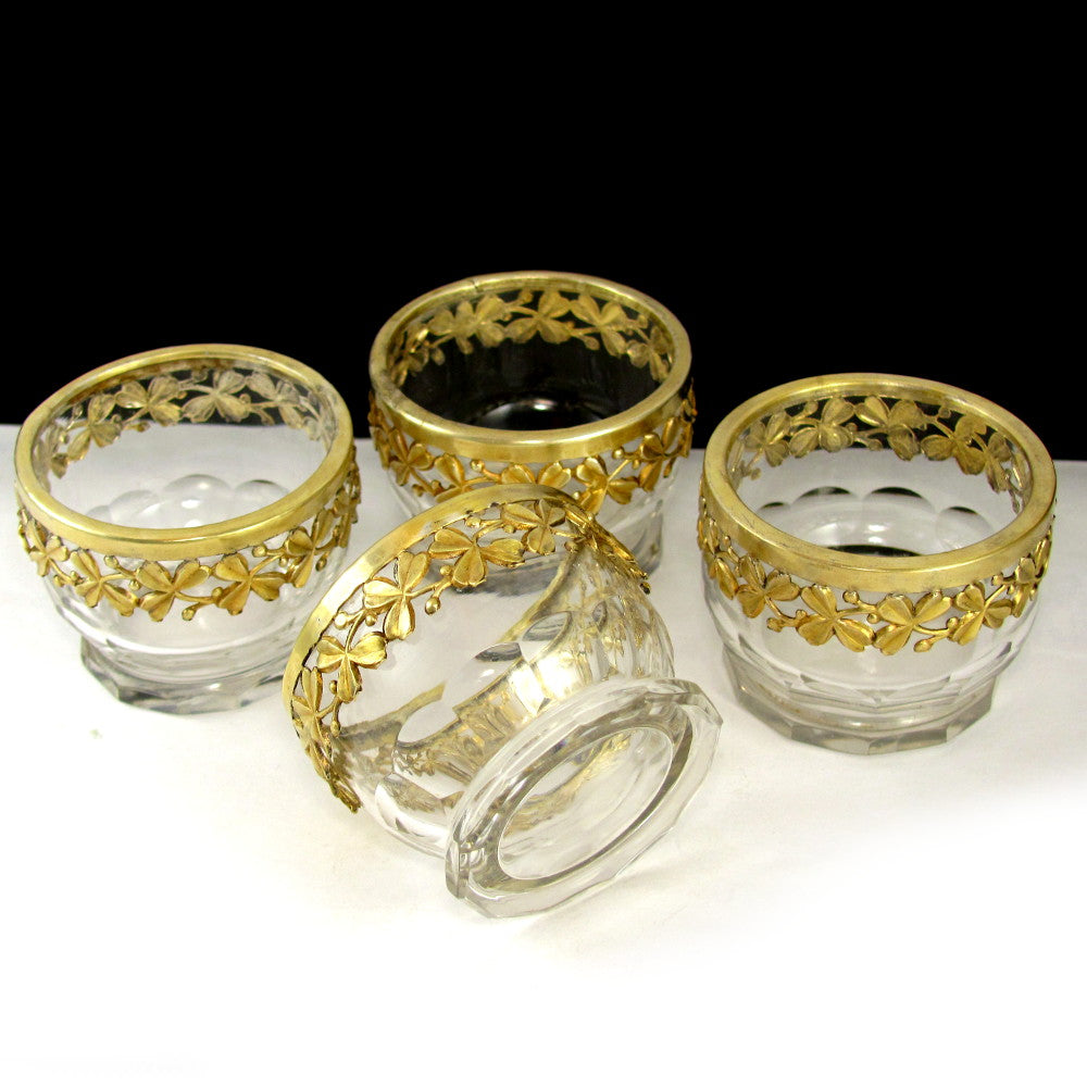 Antique French Sterling Silver & Cut Crystal Open Salt Cellars