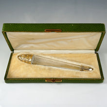 French Sterling Silver Crystal Lay Down Scent Perfume Bottle, Gilt Vermeil, Original Box