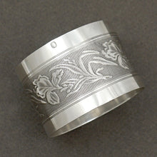 Load image into Gallery viewer, Art Nouveau French Sterling Silver Napkin Ring Iris Flowers