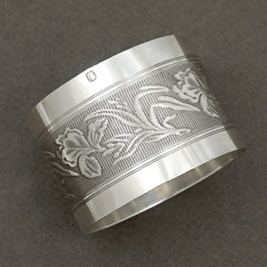 Art Nouveau French Sterling Silver Napkin Ring Iris Flowers
