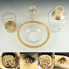 Load image into Gallery viewer, Antique French Sterling Silver Gold Vermeil Cut Glass Tumble Up