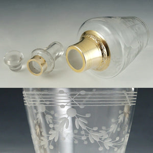 Antique French Sterling Silver Gold Vermeil Cut Glass Tumble Up