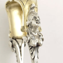 Load image into Gallery viewer, Antique French Sterling Silver Sugar Tongs, Figural Caryatid Female Bust
