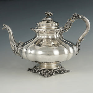 Antique French Sterling Silver Melon Teapot, Heavy 802.5g, Ornate Lion & Floral Motif