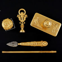 Load image into Gallery viewer, Antique French Gilt Bronze Writing Desk Set, Empire Motifs