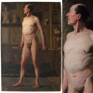 Antique French Oil Painting Academic Male Nude Study Full Length Portrait Dated 1882