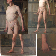 Load image into Gallery viewer, Antique French Oil Painting Academic Male Nude Study Full Length Portrait Dated 1882