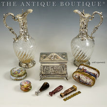 Load image into Gallery viewer, Antiques, French decanters, Meissen snuff box, Wax Seals, sterling silver
