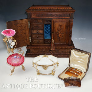 The Antique Boutique Pink Victorian Glass, Opaline Box, Hair Combs, Black Forest Carved Wood Cabinet