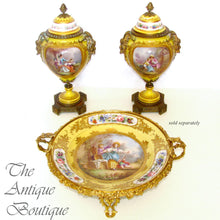 Antique French Sevres Style Porcelain Urn Satyr Bronze Handles, Hand Painted Gilt & Rococo Scene