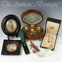 Grouping of antiques, Mourning Hair Art, Perfume Bottles, Parasol Handle