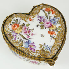 Antique Hand Painted Porcelain Raised Gold Enamel Heart Shaped Snuff Box