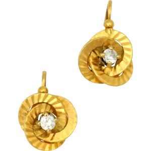 Art Deco French 18k Yellow Gold Dormeuses Earrings