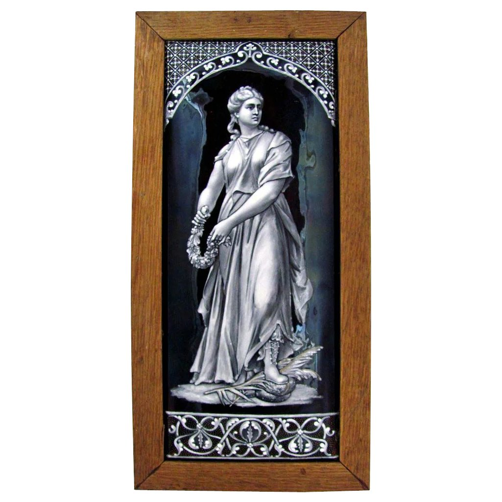 LARGE Antique 19c French Limoges Enamel on Copper Grisaille Portrait Plaque, Framed