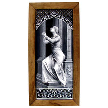 LARGE Antique 19c French Limoges Enamel on Copper Grisaille Portrait Plaque,