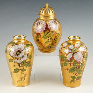 French Limoges Porcelain 3pc Garniture Set, Pair of Vases & Urn