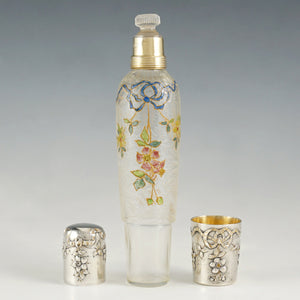 Antique Belle Epoque French Sterling Silver Cameo Acid Etched Glass Liquor Flask, Enamel Flowers