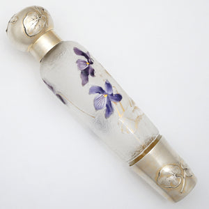 Antique Art Nouveau French Sterling Silver Liquor Opera Flask, Legras Violet Cameo Glass Bottle