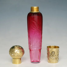 Load image into Gallery viewer, Antique French Sterling Silver Gold Vermeil Flask, Cranberry Glass Engraved