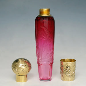 Antique French Sterling Silver Gold Vermeil Flask, Cranberry Glass Engraved