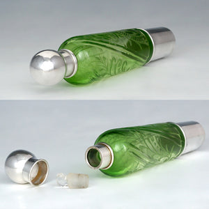 Antique French Sterling Silver & Green Cut Glass Flask