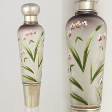 Load image into Gallery viewer, Antique French Sterling Silver Liquor Flask, Enamel Glass, Traveling / Opera 'Spirits' Bottle