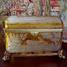 Large Antique Bohemian Intaglio Cut Amber Glass Jewelry Casket