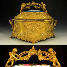 Load image into Gallery viewer, Large Antique French Bronze or Brass Jewelry Casket, Box, with Hand Painted Porcelain Plaques, Flowers & Cherubs